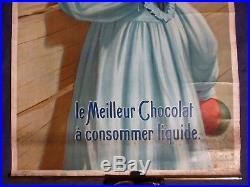 Affiche originale lithographiée 1900 pour Cacao Van Houten, 76 x 42 cm