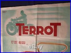 Affiche originale lithographiée pour la marque de motos TERROT, 120 x 79 cm