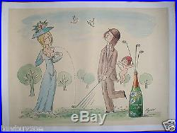 Affiche originale poster CHAMPAGNE PERRIER JOUET par PEYNET golf sein nu colombe