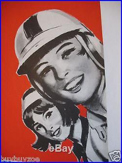Affiche originale poster RALLYE FEMININ PARIS Bendor SAINT RAPHAEL ESSO mai 1966