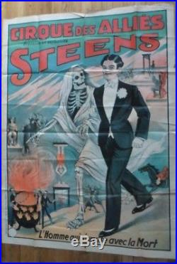 Affiche originale prestidigitation STEENS cirque des alliés Bedos IMP