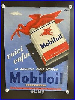 Affiche originale rare Villemot Mobiloil