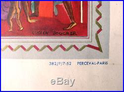 Affiche planisphère Air France Lucien boucher Perceval Original vintage poster