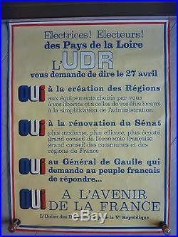 Affiche politique ancienne UDR 1969