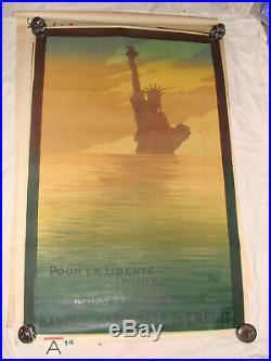Affiche pour la liberté du monde 1914-1918 illustrée par SEM Statue of Liberty