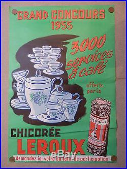 Affiche pub chicorée LEROUX 1955