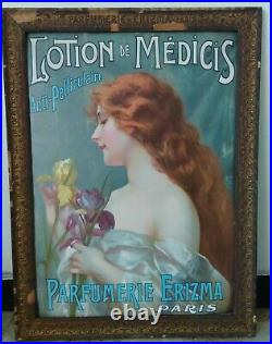 Affiche publicitaire Lotion Médicis Parfumerie Erizma dans cadre origine abîmé