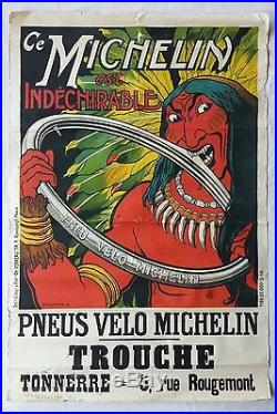 Affiche publicitaire Pneu vélo MICHELIN Fraikin 1908 INDIEN Tonnerre 89