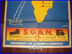 Affiche publicitaire S. G. A. N afrique abidjan Douala rail train transport 1950