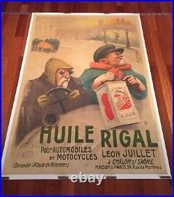 Affiche publicitaire ancienne, Bidon DHuile Automobile, 160x120cm Entoilée