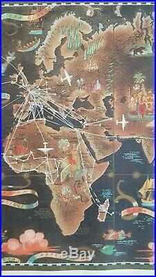 Affiche publicitaire ancienne Planisphère Air France Lucien Boucher 1948