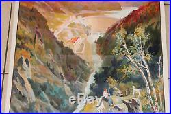 Affiche publicitaire ancienne par CHAMPSEIX. Marèges. Montagne chemins de fer