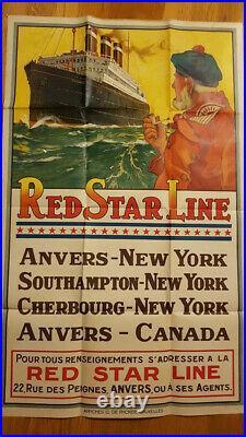 Affiche publicitaire ancienne rare RED STAR LINE