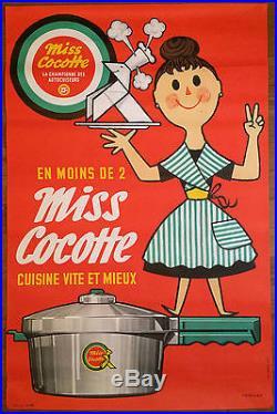 Affiche publicitaire années 60 marque vendome Miss cocotte rare