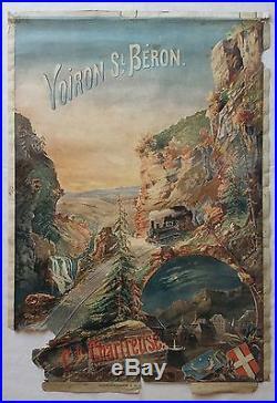 Affiche publicitaire touristique Chemin de Fer VOIRON St BERON Gde CHARTREUSE 38