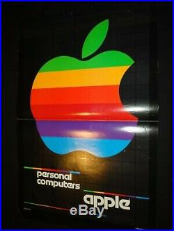 Affiche rare Apple Rainbow Vintage 1980 Personal Computers Poster Black