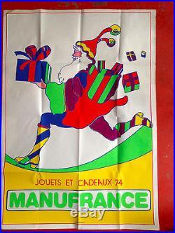 Affiche rare manufrance pére Noel vintage psychedelique 77,5 x 110