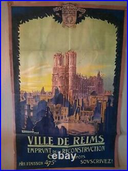 Affiche reconstruction de la cathédrale de Reims