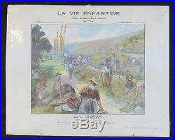Affiche scolaire LA VIE ENFANTINE Série V LES CHAMPS EN VENDANGES par DUTRIAC