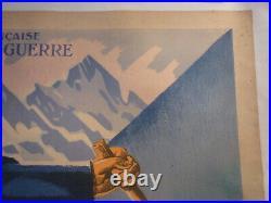 Affiche ski chasseur Alpin eric de Coulomb vers 1920 entoilée