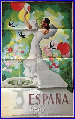Affiche tourisme ESPANA Espagne par MORELL Gitane 62x100cm 1941