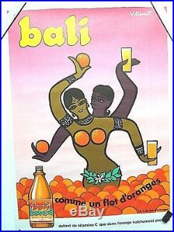 Affiche tres rare de VILLEMOT, pour BALI (groupe Perrier). 1985