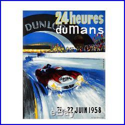 Affiche vintage ancienne BELIGOND. 24 heures du Mans 21 et 22 Juin 1958