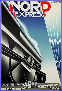 Affiches Ancienne Nord Express de Cassandre Reedition Lithographié de 1980