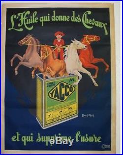 Affiches ancienne originale Yacco L'huile qui donne des cheveaux Marcel BLOCH