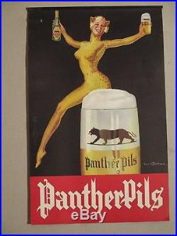 Affichette Ancienne Biere Femme Panthere