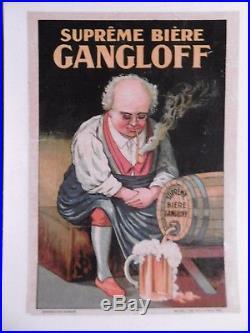 Affichette Biere Bonhomme Chope Tonneau Gangloff