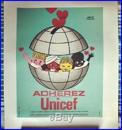 Affichette Entoilée UNICEF Hervé Morvan