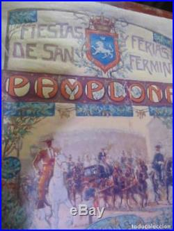 Afiche Saint Fermín, tauromachie, 1913 huile sur toile, original et unique