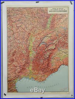 Afiche ancienne vers 1900 entoilée carte du réseau PLM 107 X 74 cm