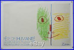Afiche originale ancienne entoilée -FËTE DE L'HUMANITE PICASSO. 100 x 64 cm