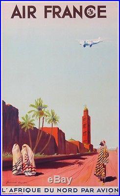 Air France Afrique Du Nord Par Avion Rare Affiche Ancienne De 1937