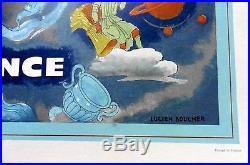 Air France Planisphère mappemonde et zodiaque bleue-Lucien Boucher-64 X 100 cm