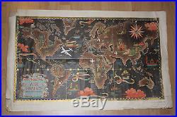 Air France- réseau aérien mondial- Lucien Boucher Affiche originale vers 1950
