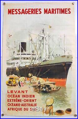 Albert Brenet Messageries Maritimes Levant Affiche Originale Rare- 1954