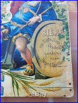 Ancien Carton Chromo Publicite Bistrot Biere Pierson Lozere Tole Plaque Emaillee