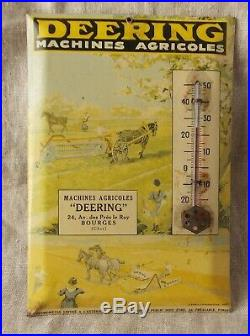 Ancien Thermometre Glacoide Publicitaire Deering Machine Agricole No Emaille