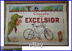 Ancien affiche publicité EXCELSIOR O'GALOP cycle antique poster publicity