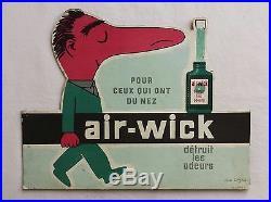 Ancien carton PLV publicitaire AIR WICK déodorant maison signée SAVIGNAC nez