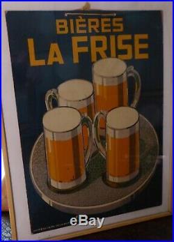 Ancien carton publicitaire bière la Frise 1920's imp WEILL-LANG