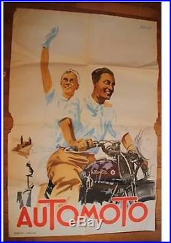 Ancienne AFFICHE PUBLICITAIRE de Cycle AuToMoTo Antique POSTER PUBLICITY