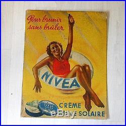 Ancienne AFFICHE PUBLICITAIRE de pharmacie NIVEA crème solaire