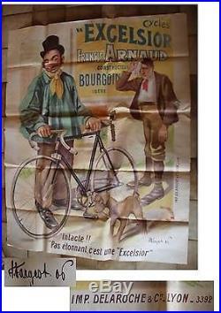 Ancienne AFFICHE Publicitaire de VELO EXCELSIOR Antique POSTER Publicity BIKE