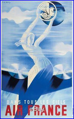 Ancienne AFFICHE originale AIR FRANCE Dans tous les ciels 1935 par DE VALERIO