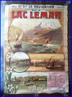 Ancienne Affiche 1904 Lac Léman Suisse Cgn Antique Poster Old Navigation