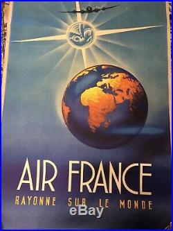 Ancienne Affiche Air France Rayonne Sur Le Monde